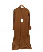 RIVE DROITE(リヴドロウ)の古着「サテンバンドカラーシャツワンピース」 ブラウン