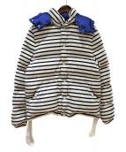 PETIT BATEAU(プチバトウ)の古着「ボーダー柄ダウンジャケット」|ホワイト×ネイビー