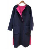 Demi-Luxe BEAMS(デミルクスビームス)の古着「ストール付リバーシブルコート」 ネイビー×ピンク