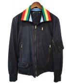 Paul Smith(ポールスミス)の古着「RAYON × COTTON STAND COLLAR BL」|ブラック
