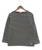 ORCIVAL(オーシバル)の古着「フリースライニング コットンロード バスクシャツ」|ブラック×ホワイト