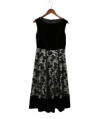 GRACE CONTINENTAL()の古着「レイヤード刺繍ワンピース」 ブラック