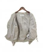 JANE SMITH(ジェーンスミス)の古着「ノーカラーMFSジャケット」|ベージュ