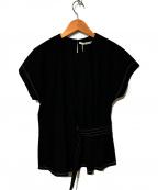 qualite(カリテ)の古着「ベルテッドブラウス」|ブラック