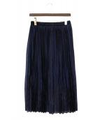 ROPE(ロペ)の古着「オーガンジープリーツスカート」|ネイビー