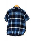 ()の古着「半袖チェックシャツ」|ブルー