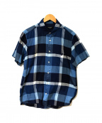 BLACK LABEL CRESTBRIDGE()の古着「半袖チェックシャツ」 ブルー