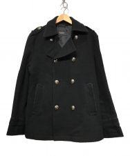 BURBERRY BLACK LABEL (バーバリーブラックレーベル) Pコート ブラック サイズ:L