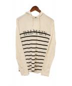 BALMAIN(バルマン)の古着「ロゴフーデッドカットソー」|ホワイト