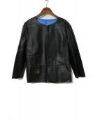 自由区(ジユウク)の古着「バイカラーレザージャケット」|ブラック