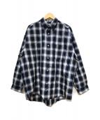 ()の古着「ワイドチェックシャツ」|ブルー