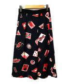 PAUL SMITH(ポールスミス)の古着「総柄スカート」|ネイビー