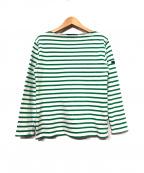 SAINT JAMES(セントジェームス)の古着「バスクシャツ」 ホワイト×グリーン