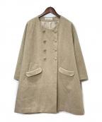 latelier du savon(アトリエドゥサボン)の古着「ノーカラーコート」|ベージュ