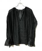 FRAMeWORK(フレームワーク)の古着「シアーヌーベルギャザーブラウス」 ブラック