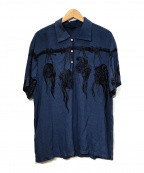Star OF HOLLYWOOD(スターオブハリウッド)の古着「半袖プルオーバーシャツ」|ネイビー