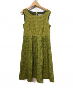 Jocomomola(ホコモモラ)の古着「刺繍ノースリーブワンピース」|グリーン