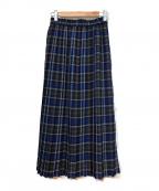 JOURNAL STANDARD(ジャーナルスタンダード)の古着「T/Wチェックプリーツスカート」|ネイビー