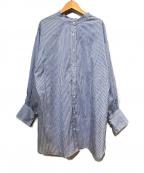 Spick and Span(スピックアンドスパン)の古着「コットンシルク2wayシャツ」|スカイブルー