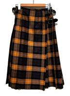 O'NEIL OF DUBLIN(オニールオブダブリン)の古着「ラップチェックスカート」|ベージュ×パープル