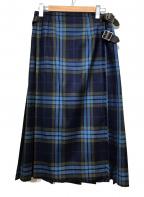 O'NEIL OF DUBLIN(オニールオブダブリン)の古着「ラップチェックスカート」|ブルー×モスグリーン