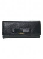 PRADA(プラダ)の古着「リボンロングウォレット」|ブラック