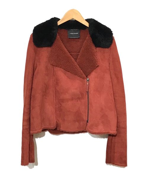 LONGCHAMP(ロンシャン)LONGCHAMP (ロンシャン) ムートンライダースジャケット レッド サイズ:SIZE 36DEFの古着・服飾アイテム