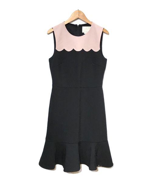 Kate Spade(ケイトスペード)Kate Spade (ケイトスペード) N/Sワンピース ブラック×ピンク サイズ:2の古着・服飾アイテム
