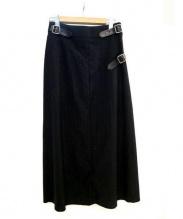 COMME des GARCONS(コムデギャルソン)の古着「ベルト付ストライプデザインスカート」|ブラック×グレー