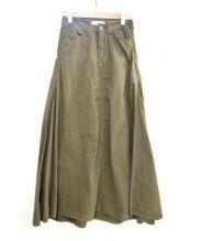 W by woadblue(ダブリュ バイ ヲードブルー)の古着「ツイルスカート」|オリーブ