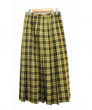 robe de chambre COMME des GARCONS(ローブドシャンブル コムデギャルソン)の古着「タータンチェックプリーツスカート」|イエロー
