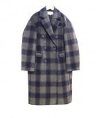 MOUSSY(マウジ)の古着「チェック柄チェスターコート」|グレー×ネイビー