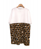 MARNI(マルニ)の古着「オーバーサイズデザインプリントTシャツ」|ホワイト×ベージュ