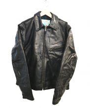 AERO LEATHER(エアロレザー)の古着「ホースハイドレザーハーフベルテッドジャケット」|ブラック