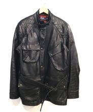 POLO RALPH LAUREN(ポロ・ラルフローレン)の古着「ゴートレザーモーターサイクルジャケット」|ブラック