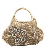 ANTEPRIMA(アンテプリマ)の古着「フラワーモチーフワイヤーハンドバッグ」|ゴールド