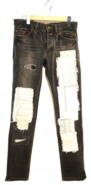 Burnout(バーナウト)の古着「ボタンフライリペア加工デニムパンツ」