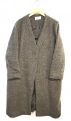 FRAY ID(フレイアイディー)の古着「ノーカラーチェスターコート」|グレー