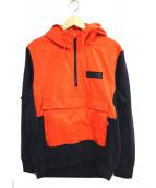 NIKE(ナイキ)の古着「ナイロン切替パーカー」 オレンジ×ネイビー