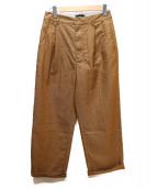 STUSSY(ステューシー)の古着「チェック柄ハイウエストタックワイドパンツ」|ブラウン