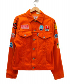JOHN SEVERSON(ジョン セバーソン)の古着「ワッペン付コーデュロイジャケット」 オレンジ×マルチカラー