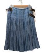 ONEILL(オニール)の古着「リネンラップデザインスカート」|インディゴ×ブラウン
