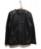 HARE(ハレ)の古着「ノーカラーレザーライダースジャケット」|ブラック