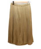 ESTNATION(エストネーション)の古着「シャイニープリーツニットスカート」|ゴールド