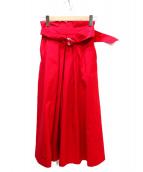 TIARA(ティアラ)の古着「タスラン巻きベルテッドフレアスカート」|レッド