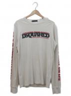 DSQUARED2(ディースクエアード)の古着「ロングスリーブプリントカットソー」|グレー×レッド