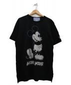 Disney×Mastermind HOMME(ディズニー×マスターマインド オム)の古着「コラボプリントヘビーTシャツ」 ブラック×シルバー