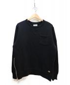 CRIMIE(クライミ)の古着「極厚吊り編みクルーネックポケットスウェット」|ブラック