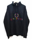 BEAMS×FRED PERRY(ビームス×フレッドペリー)の古着「別注90sロゴ切替ハーフジップスウェット」|ブラック×マルチカラー