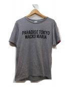 WACKOMARIA(ワコマリア)の古着「ロゴプリントTシャツ」|グレー×ブラック